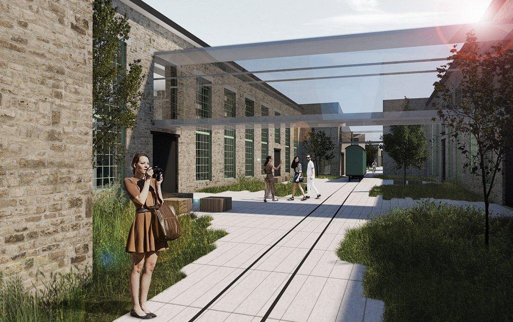 Vaade sisehoovi ja kahte hoonetiiba ühendavale ühendusgaleriile